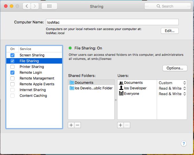 Compartilhamento de Arquivos MAC