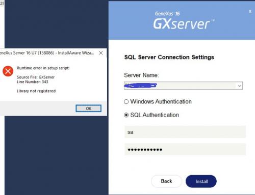 Erro na Instalação do Genexus Server
